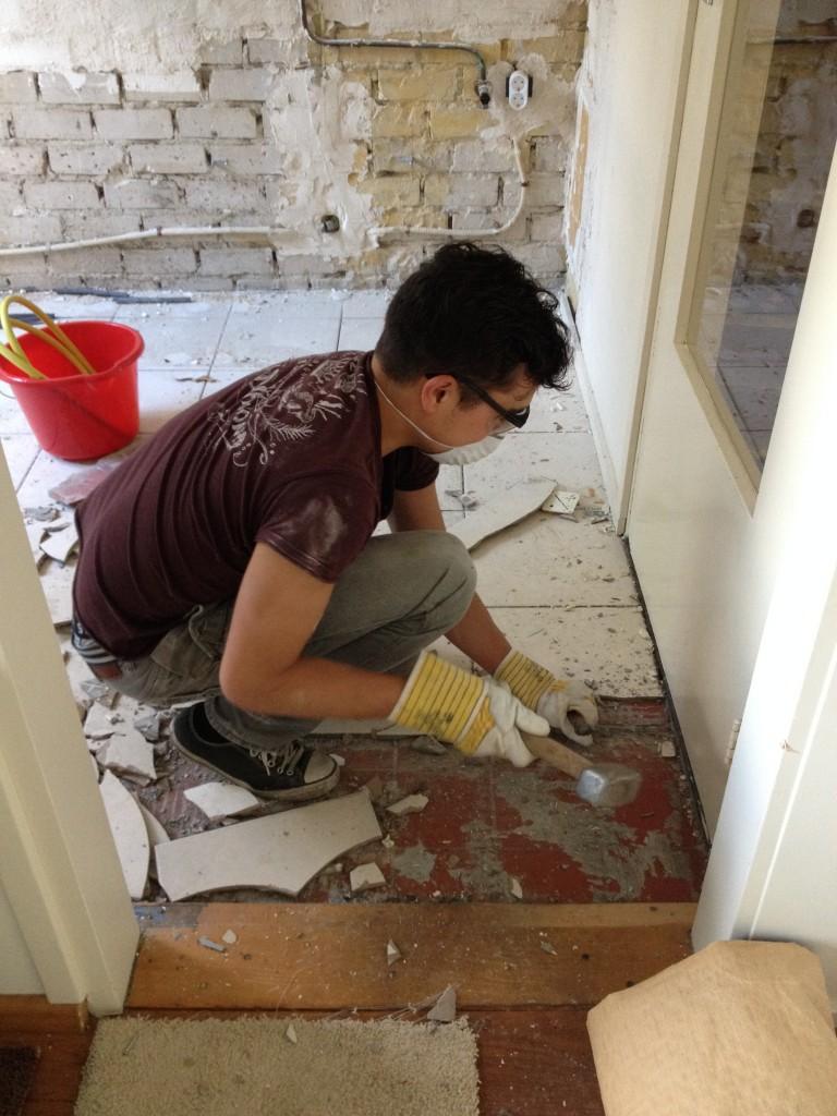 Steven verbouwen vloertegels keuken